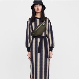 Zara Vertical Striped Wrap Tie Long Sleeve Dress